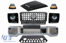 Mercedes Benz G-Class W463 (2005-2012) Body Kit G65 AMG Look with Grille G63 GT-R Panamericana Design LED Bi-Xenon Headlights - COFBMBW463AMGGTRHDPB