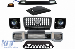Mercedes Benz G-Class W463 (2005-2012) Body Kit G65 AMG Look with Grille G63 GT-R Panamericana Design LED Bi-Xenon Headlights - COFBMBW463AMGGTRHMB
