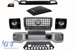 Mercedes Benz G-Class W463 (2005-2012) Body Kit G65 AMG Look with Grille G63 GT-R Panamericana Design LED Bi-Xenon Headlights - COFBMBW463AMGGTRHPB