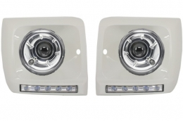 Mercedes Benz G-Class W463 Headlights Bi-Xenon Look with Covers WHITE LED DRL 1989-2012 G65 AMG Design  - COHCMBG65WCH