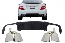 Mercedes C-class W204 2012-up C63 AMG Sport Rear Bumper Valance Diffuser Limo Coupe with Exhaust Muffler Tips - CORDMBW204FMT