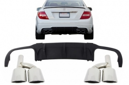 Mercedes C-class W204 2012-up C63 AMG Sport Rear Bumper Valance Diffuser Limo Coupe with Exhaust Muffler Tips - CORDMBW204F1