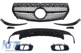 Mercedes W117 C117 CLA (2013-2016) AMG Sport Pack Rear Diffuser & Exhaust Tips Black with Front Grille Diamond and Aero Fins - CORDMBW117AMGBBSP