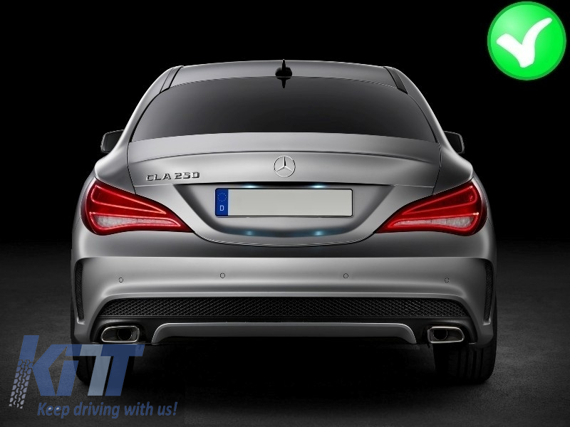 mercedes w117 cla 2013 up amg sport pack rear diffuser exhaust tips tailpipe package. Black Bedroom Furniture Sets. Home Design Ideas
