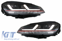 Osram Full LED Headlights suitable for VW Golf 7 VII 12-17 Red GTI Upgrade Xenon&Halogen - LEDHL104-GTI