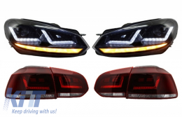 OSRAM LEDriving FULL LED TailLight with Xenon Upgrade Headlights suitable for VW Golf 6 VI (2008-2012) Dynamic Sequential Turning Light - COLEDTL102BK