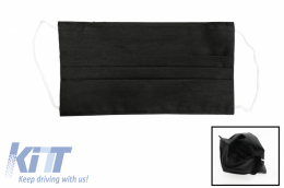 Package of 5 Black Reusable Masks with Folds 100% Cotton 2 Layers Unisex Washable 5 Filters PPS 330 Microns - MASKRALBK