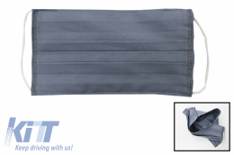 Package of 5 Grey Reusable Masks with Folds 100% Cotton 2 Layers Unisex Washable 5 Filters PPS 330 Microns - MASKRALDG