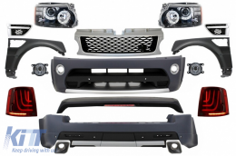 Range Rover Sport (2005-2010) L320 Complete Conversion Retrofit Autobiography Design Body Kit Black Edition+Central Grille and Side Vents Assembly - COCBRRSBGS