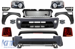 Range Rover Sport (2005-2010) L320 Complete Conversion Retrofit Autobiography Design Body Kit Black Edition+Central Grille and Side Vents Assembly - COCBRRSBSG