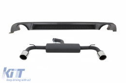 Rear Bumper Air Diffuser suitable for VW Golf 7.5 VII (2017-Up) with Complete Exhaust System GTI Design - CORDVWG7FGTIES