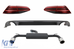 Rear Bumper Air Diffuser suitable for VW Golf 7.5 VII (2017-Up) with Complete Exhaust System and LED Taillights Dynamic Sequential Turning Lights GTI Design - CORDVWG7FGTIESTL