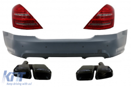 Rear Bumper and LED Taillights Mercedes Benz W221 S-Class (05-11) AMG and Black Edition Muffler Tips - CORBMBW221B