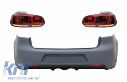 Rear Bumper and Taillights Full LED Turning Light Static Red/Smoke suitable for VW Golf VI (2008-2013) R20 Design