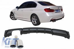 Rear Bumper Diffuser Piano Black Valance Spoiler Exhaust Muffler Tip suitable for BMW 3 Series F30 2011+ M-Performance Design Left Double Outlet - CORDBMF30MPLOPBL