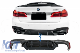 Rear Bumper Diffuser suitable for BMW 5 Series G30 G31 Limousine/Touring (2017-up) M5 Design Piano Black - RDBMG30M5