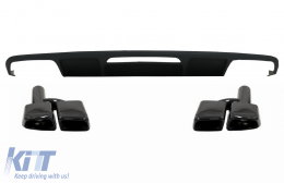 Rear Bumper Diffuser suitable for Mercedes W218 CLS Sedan (2011-2017) and Exhaust Muffler Tips Tail Pipes Only for AMG Sport Line