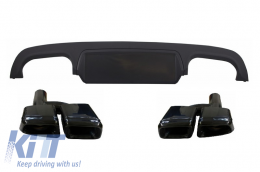 Rear Bumper Diffuser suitable for MERCEDES S-Class W221 (2005-2013) Facelift S63 S65 Design with Black Exhaust Muffler Tips - CORDMBW221B