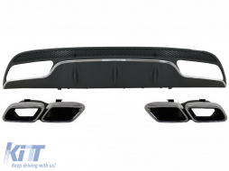 Rear Bumper Diffuser suitable for MERCEDES C-Class W205 S205 (2014-2020) C63 Design with Exhaust Muffler Tips Only for Sport Package - CORDMBW205AMGTY