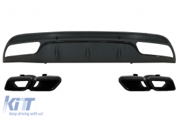 Rear Bumper Diffuser suitable for MERCEDES C-Class W205 S205 (2014-2020) with Exhaust Muffler Tips C63 Design Only for Sport Pack Black Edition - CORDMBW205AMGTYB