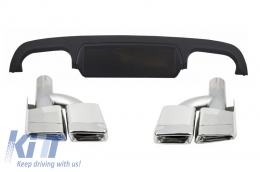 Rear Bumper Diffuser with Exhaust Muffler Tips suitable for MERCEDES S-Class W221 (2005-2013) - CORDMBW221E63