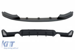 Rear Bumper Diffuser With Front Bumper Spoiler Lip suitable for BMW 4 Series F32 F33 F36 (2013-2019) Coupe Cabrio M Design Twin Single Outlet - CORDBMF32MPDSOFB