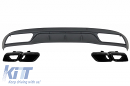 Rear Bumper Diffuser with Muffler Tips Mercedes C-Class W205 S205 (2014-2018) AMG C63 Look Shadow Black for Standard Bumper - CORDMBW205NB