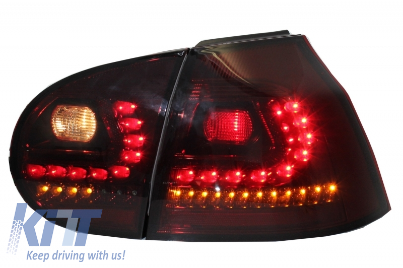 Rear Bumper Extension Complete Exhaust System suitable for VW Golf V  2003-2008 with LED Taillights Dynamic Red/Smoke and Side Skirts R32 Look