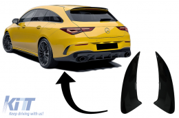 Rear Bumper Flaps Flics Side Fins suitable for Mercedes CLA Shooting Brake X118 CLA Coupe C118 (2019-up) Piano Black CLA 45S Design - RFOBW118