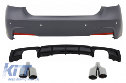 Rear Bumper M-Technik with Valance Diffuser Single/Double Outlet Piano Black Exhaust Muffler Tips Black M Performance BMW 3 Series F30 (2011+) - CORBBMF30MTNAB