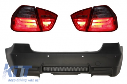 Rear Bumper M3 Design with PDC LED Taillights Red/Smoke BMW 3 Series E90 2005-2008 - CORBBME90M3PDCC6