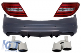 Rear Bumper Mercedes C-Class W204 (11-14) Facelift C63 AMG with Exhaust Muffler Tips and LED Taillights - CORBMBW204C63AMGTL