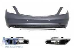 Rear Bumper + Muffler Tips Mercedes Benz W222 S-Class (2013-up) S65 AMG Design - CORBMBW222AMGS65