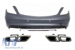 Rear Bumper + Muffler Tips Mercedes Benz W222 S-Class (2013-up) S63 AMG Design - CORBMBW222AMGS63