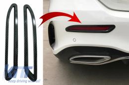 Rear Bumper Reflectors Frame Trim Cover Stickers Decal suitable for Mercedes A-Class V177 Sedan AMG Line (2018-Up) Carbon - RFCVMBW177