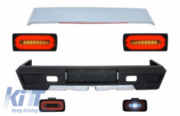 Rear Bumper Roof Spoiler suitable for MERCEDES Benz G-class W463 (1989-2015) LED Taillights Light Bar and Fog Lamp Smoke - CORBMBW463AMGLBS