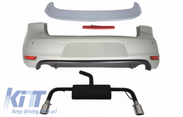 Rear Bumper Roof Spoiler with LED Brake Light suitable for VW Golf 6 VI (2008-2012) and Exhaust System GTI Design - CORBVWG6GTIRWES