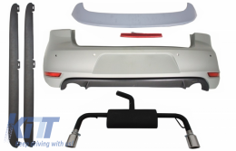 Rear Bumper Roof Spoiler with LED Brake Light suitable for VW Golf 6 VI (2008-2012) Exhaust System and Side Skirts GTI Design