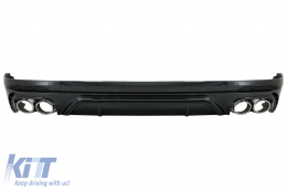 Rear Bumper Spoiler Valance Diffuser Double Outlet suitable for Audi Q5 SUV FY S-Line (2018-2020) Silver Tips - RDAUQ5FYSQ5S