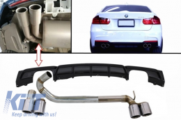 Rear Bumper Spoiler Valance Diffuser with Twin Double Exhaust Systems Muffler Tips M3 M Performance Design BMW 3 Series F30 F31 2011+ Limo Touring - CORDBMF30MPDOBES