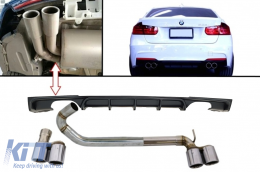 Rear Bumper Spoiler Valance Diffuser with Twin Double Exhaust Systems Muffler Tips M3 M Performance Design BMW 3 Series F30 F31 2011+ Limo Touring - CORDBMF30MPDOES