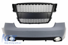 Rear Bumper suitable for AUDI A5 S5 8T (2007-2011) RS5 Design With Badgeless Front Grille Matte Black - CORBAUA58TF
