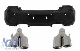 Rear Bumper suitable for BMW 1 Series F20 F21 LCI (2015-06.2019) with Exhaust Muffler Tips Quad M2 Design - CORBBMF20M2LCITY