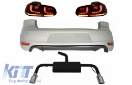 Rear Bumper suitable for VW Golf 6 VI (2008-2012) with Complete Exhaust System and Taillights FULL LED Dynamic Sequential Turning Light GTI Design - CORBVWG6GTIESRCFW