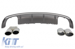 Rear Bumper Valance Air Diffuser Audi A3 8V Sedan (2012-2015) S3 Design With Double Outlet Exhaust Tips - RDAUA38VSE