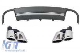 Rear Bumper Valance Air Diffuser Exhaust Muffler Tips Audi A4 B8 Pre Facelift Avant 2008-2011 S4 Design - CORDAUA4B8S4