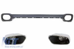 Rear Bumper Valance Diffuser and Square Exhaust Tips suitable for BMW X6 F16 V8 Design M-Tech Style - RDBMX6F16