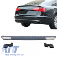 Rear Bumper Valance Diffuser & Exhaust Tips A6 4G (2010-2014) Facelift W12 Design