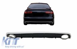 Rear Bumper Valance Diffuser & Exhaust Tips Audi A6 C7 4G Limousine Avant (2010-2014) RS6 Design - RDAUA64GRS6