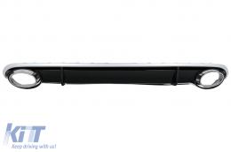 Rear Bumper Valance Diffuser & Exhaust Tips suitable for AUDI A4 B8 Limousine Avant Pre Facelift (2007-2011) RS4 Design - RDAURS4